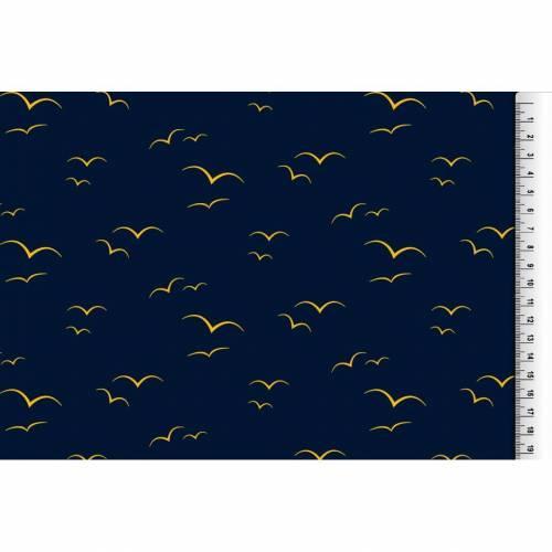 Jersey Schwalben Schwalbenjersey blau dunkelblau gelb, maritim Stoffe Meterware