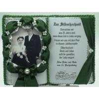 Silberhochzeit - 25-jähriges Ehejubilläum - Dekobuch (tannengrün) für Foto mit Holz-Buchständer Schmuckbücher für alle Anlässe Bild 1