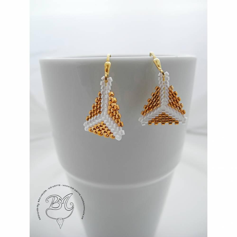 Ohrhänger Gold Weiß  Bild 1