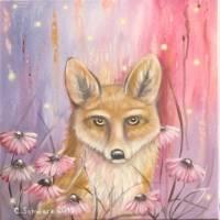 "Acrylgemälde ""NEUGIERIGER FUCHS"" - Kunst Wandbild Sonnenhut Fuchs Natur Bild Deko gemalt 40cmx40cm abstrakt"