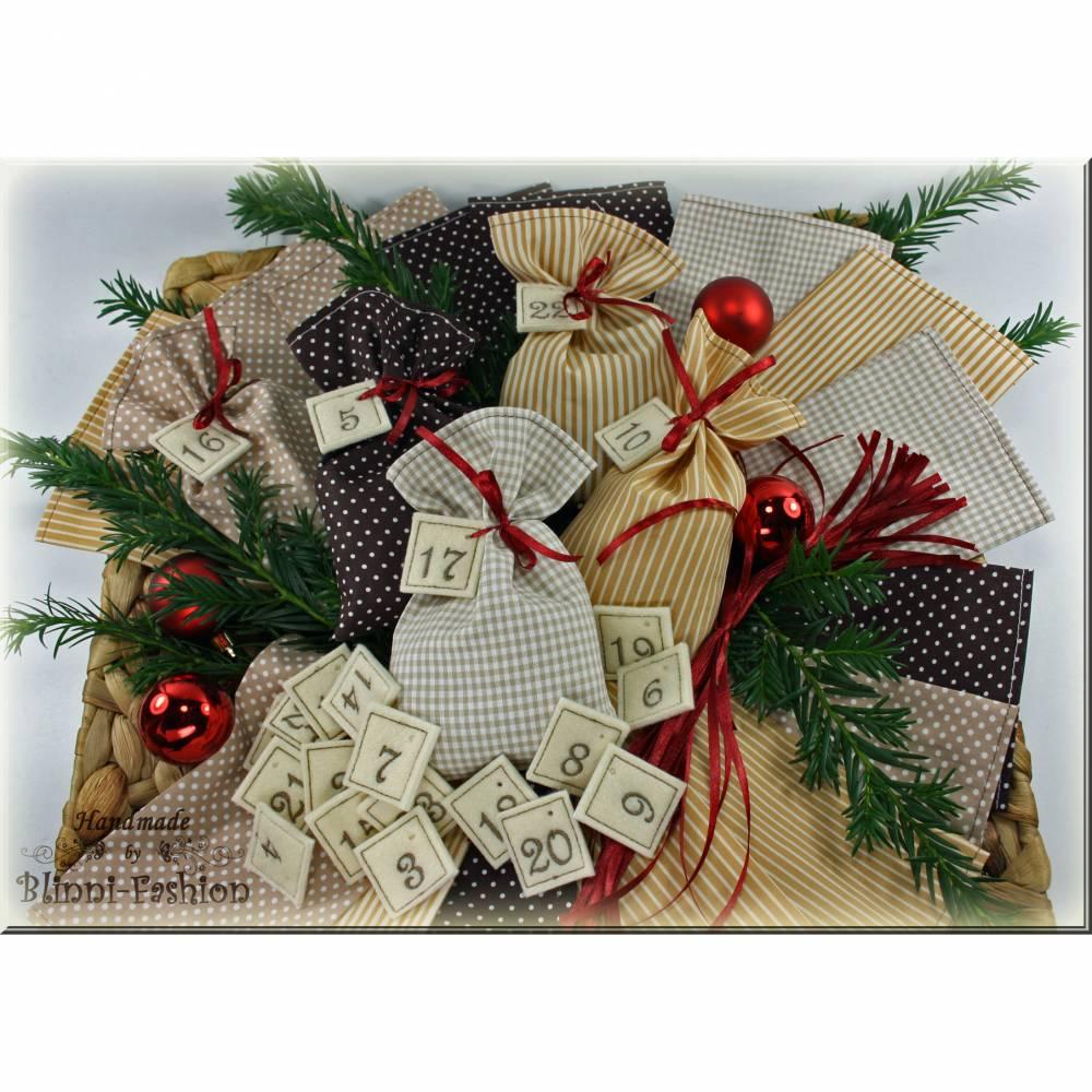 Adventskalender Stoff Säckchen mit gestickten Zahlen für Kinder und Erwachsene, Weihnachten, Advent, verschiedene Farben Bild 1