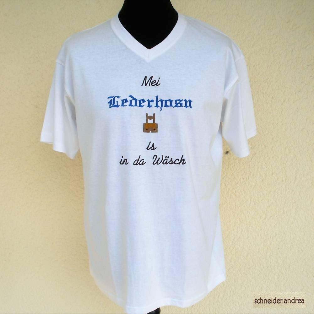 Besticktes Herren - T-Shirt MEI LEDERHOSN IS IN DA WÄSCH Bild 1