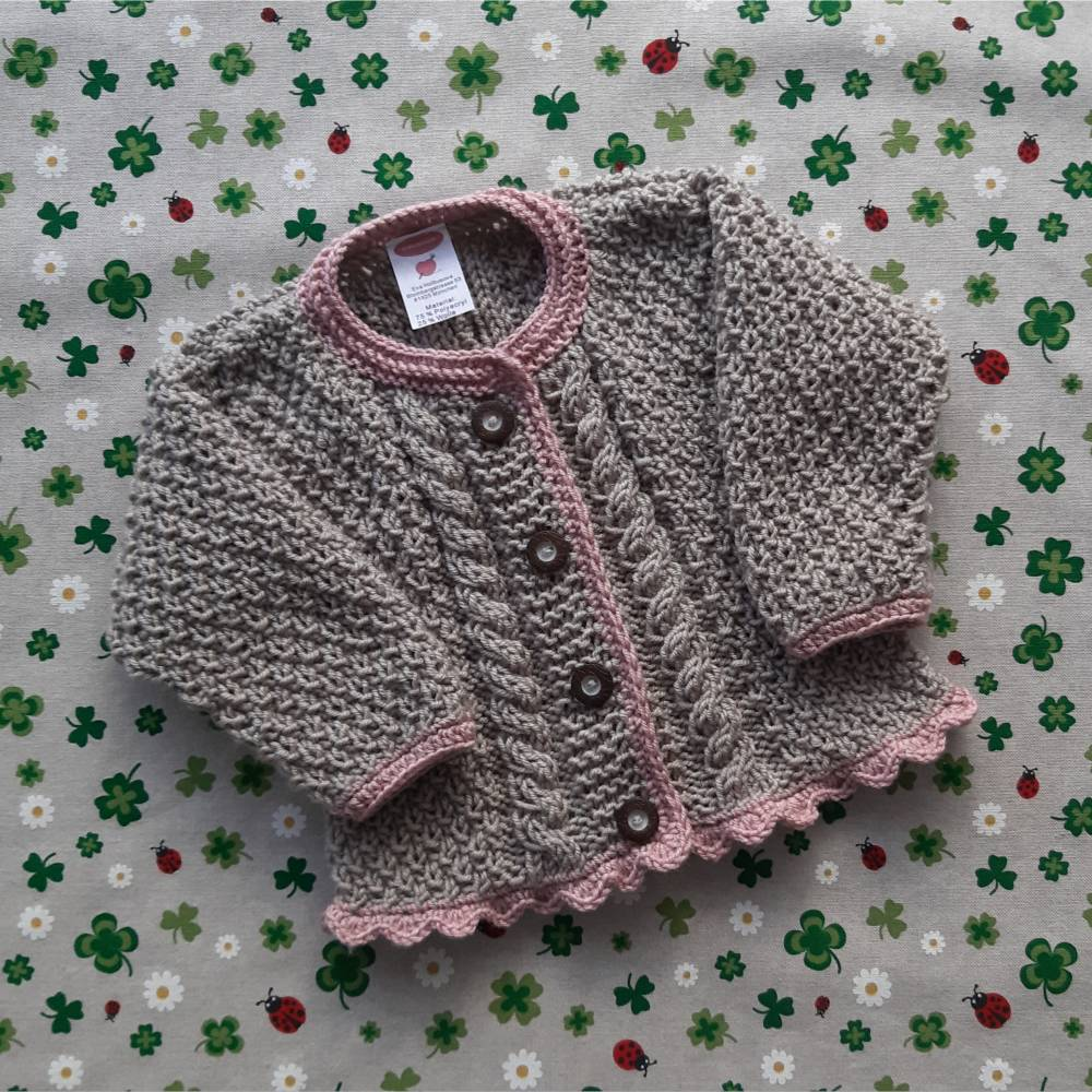Pullover mit Zopfmuster ab Größe 62/68 bis Größe 98/104 braun grün trachtenjacke für junge getrickt geschenk geburt taufe taufkleidung  Bild 1
