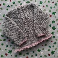 Pullover mit Zopfmuster ab Größe 62/68 bis Größe 98/104 braun grün trachtenjacke für junge getrickt geschenk geburt taufe taufkleidung  Bild 2
