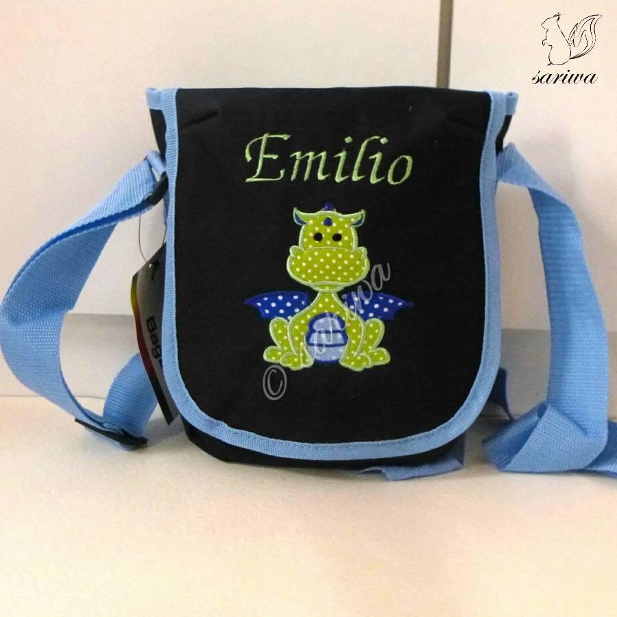 Kindergarten- / Kita-Tasche bestickt mit Drache +  Wunschname Bild 1