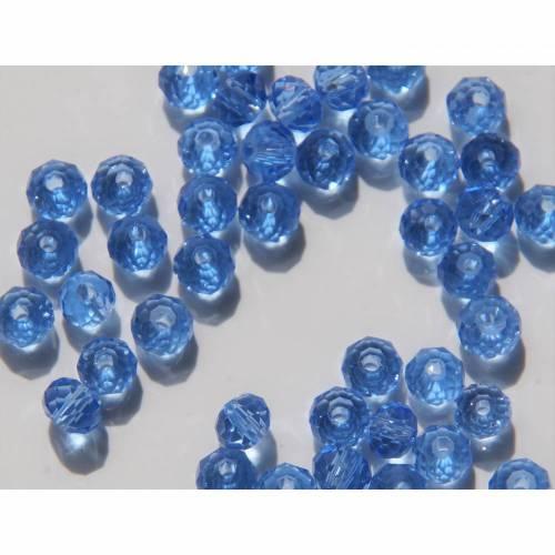 20 Facetteperlen , Glasperlen 6x4 mm Glasschliffperlen Nr. 315  facettierte blau