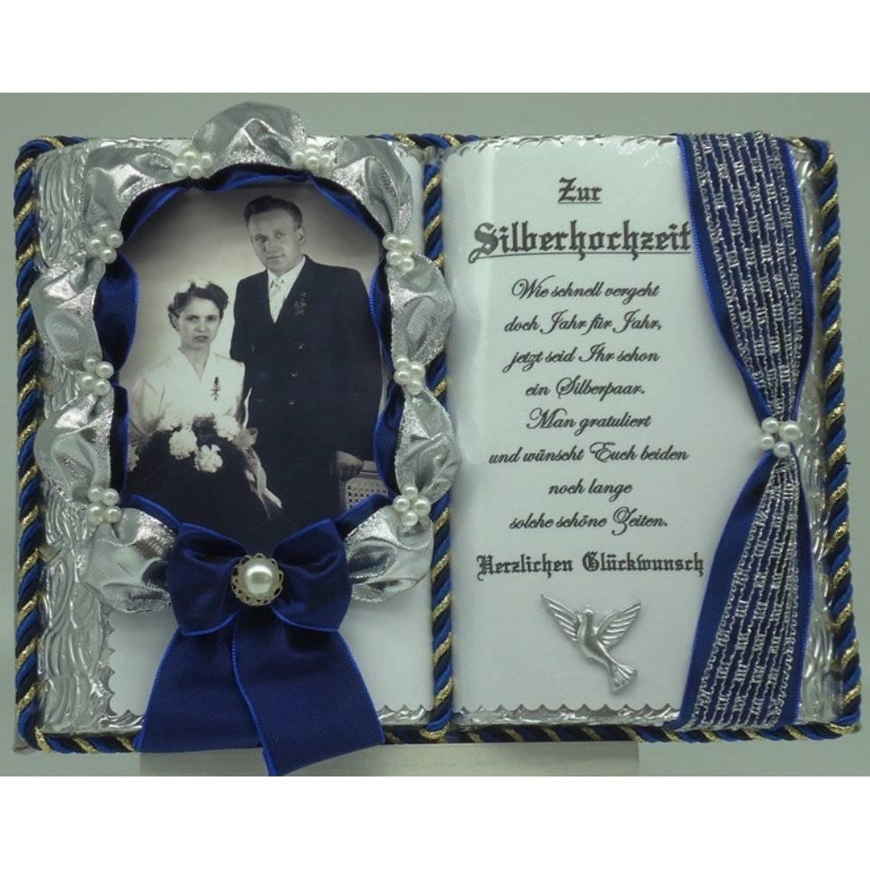 Silberhochzeit - 25-jähriges Ehejubilläum - Dekobuch für Foto mit Holz-Buchständer Schmuckbücher für alle Anlässe Bild 1