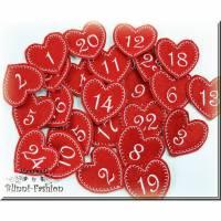 Adventskalender Zahlen, HERZEN Anhänger gestickt auf Filz, Adventskalenderzahlen in vielen Farben, Advent Bild 1