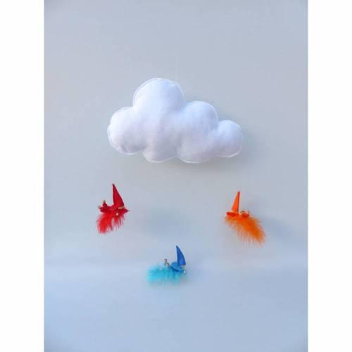 Mobile-Wolke mit Wichtel-Zwergen auf Feder, Geschenk Geburt, Taufe
