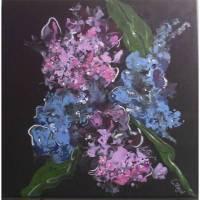 Wandbild- Hortensien mit Acrylfarben auf Leinwand- Keilrahmen gegossen Bild 1