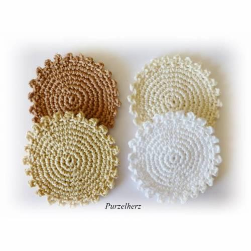 4 gehäkelte Glasuntersetzer - Tischdeko  - beige, weiß
