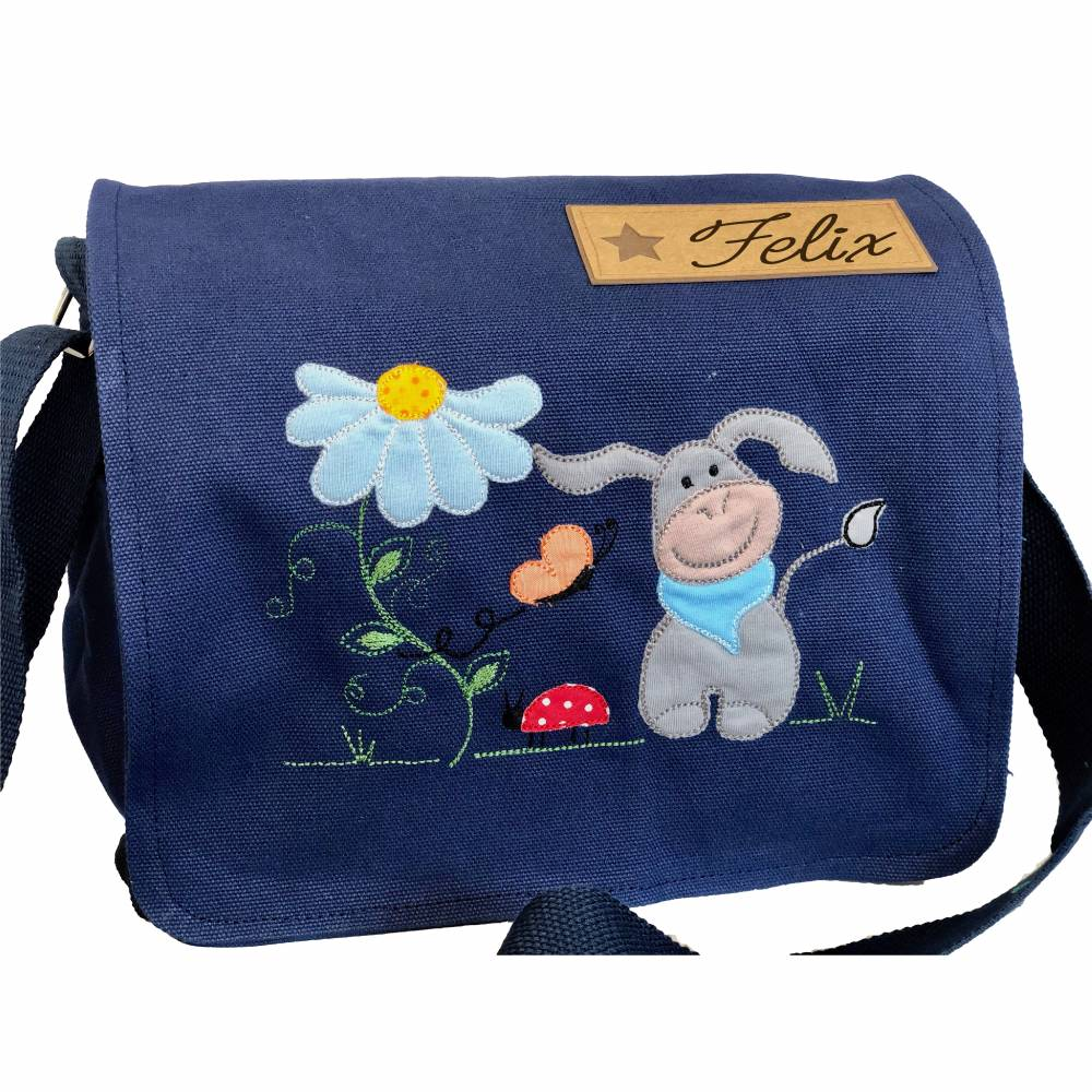 Kindergartentasche mit Name, dunkelblau, mit Esel, Blume und Marienkäfer Bild 1
