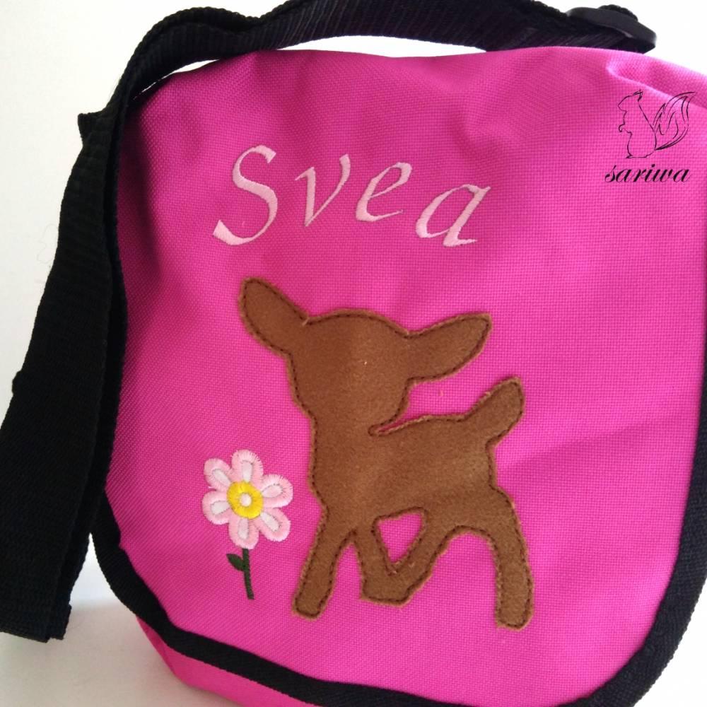 Kindergarten- / Kita-Tasche bestickt mit Rehlein / Reh +  Wunschname Bild 1