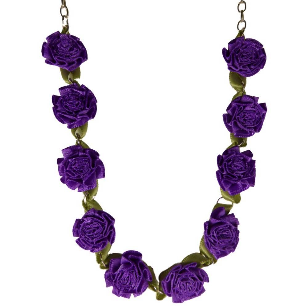 Halskette Kette silberfarben / lila Rosa Blume Blüte Gothic Stoff Collier K1664 Bild 1