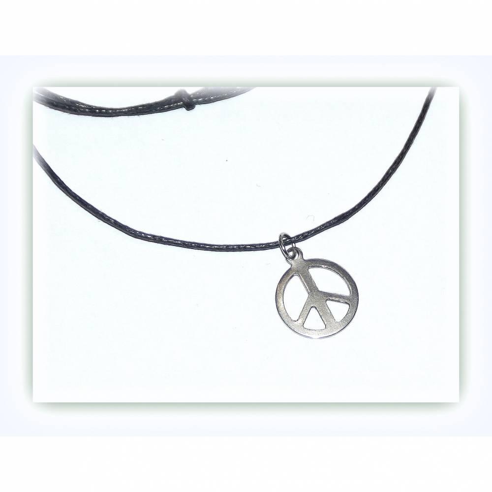 kurze Kette Band mit Edelstahl Anhänger Peace, Jungenkette Bild 1
