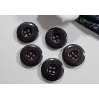 5 Knöpfe 20mm schwarz/grau transparent, Mantelknöpfe, Trödel Dings da Bild 1