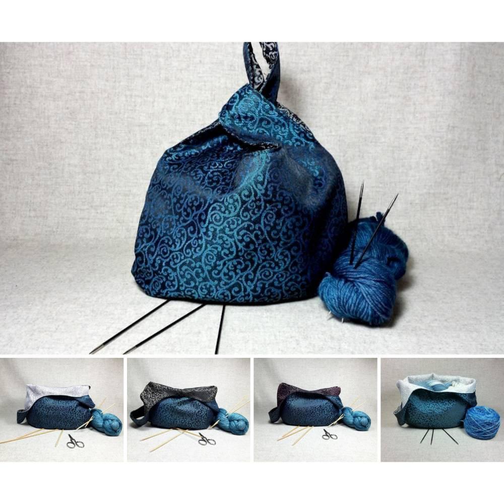 Elegante Tasche zum Wenden schwarz türkis - Brautjungfern-Tasche Bild 1