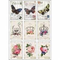 Bügelbild, Bügelbilder, Vintage Motive, Rosen, Schmetterling, Krone, für deine Werke im Vintage / Shabby Stil. Bild 1