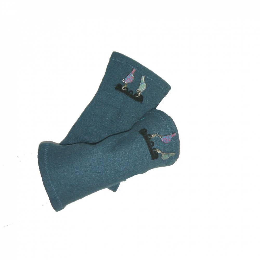 Armstulpen Walkstoff blau, M/L Bild 1