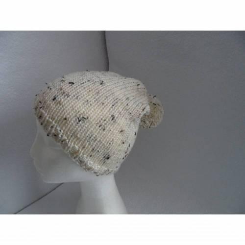 Bommelmütze gestrickt, Mütze mit Bommel, beige-meliert, KU 50-52 cm