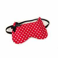 Schlafmaske MEOW Katze Herzchen rot  Bild 1