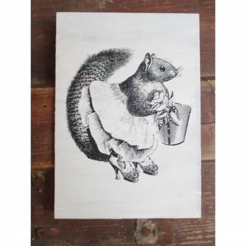 Bild mit Vintage Art Motiv * Eichhörnchen * im Shabby Chic Herbstdeko
