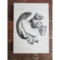 Bild mit Vintage Art Motiv * Eichhörnchen * im Shabby Chic Herbstdeko Bild 1