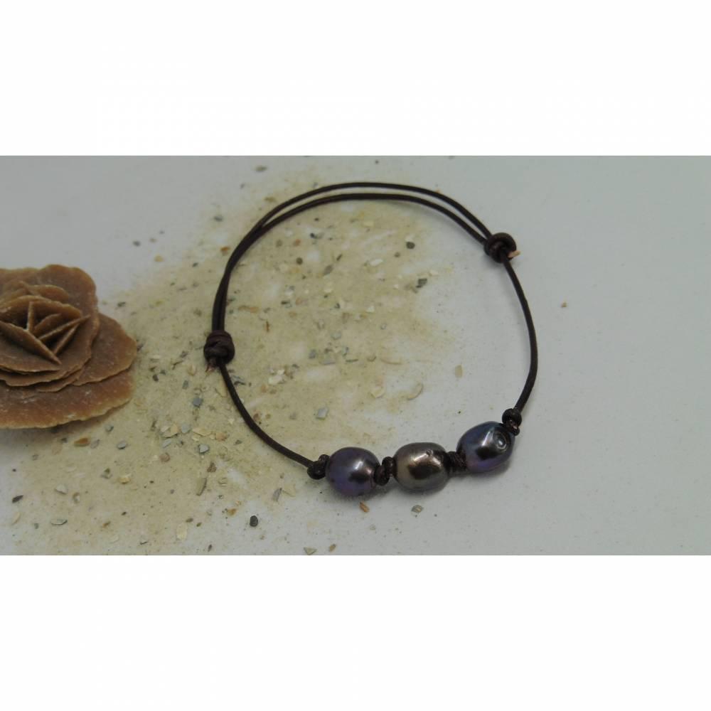 Lässiges Armband aus Leder mit 3 großen Perlen, unisex Surfer Schmuck Bild 1