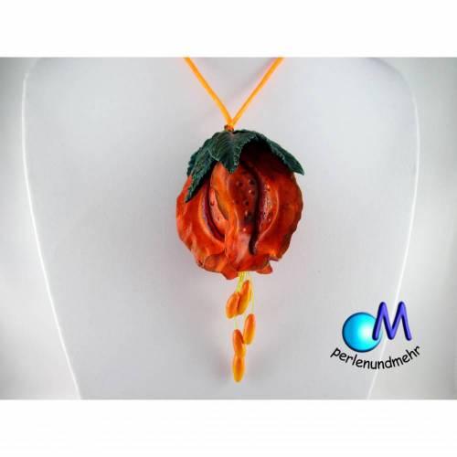 Riesengroße Blume, orange-rot Statement-Kette Hohl Handgearbeitet Handarbeit