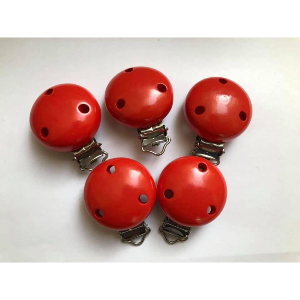 Holzclip Schnullerkettenclip 5er Set rot Bild 1