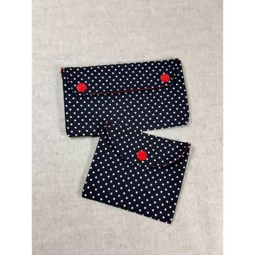 Etui Rockabilly mit Punkten rot schwarz, Stricknadel-Etui gepunktet, Kosmetiktäschchen