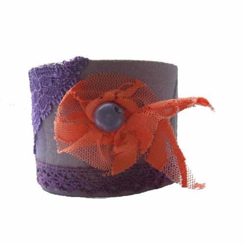 Stoffarmband lila Vintagemuster, Größe S