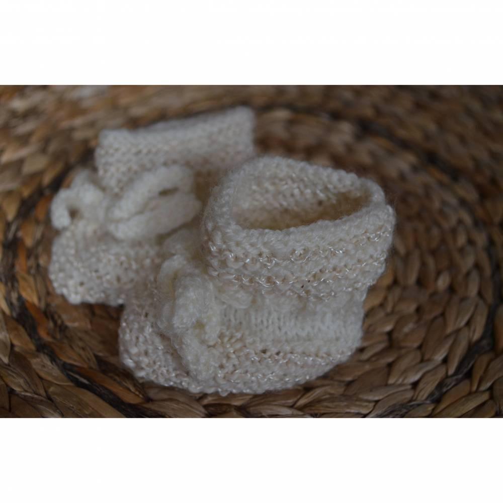 Baby Strickschuhe gestrickte Schuhe Geburt Taufe  Bild 1