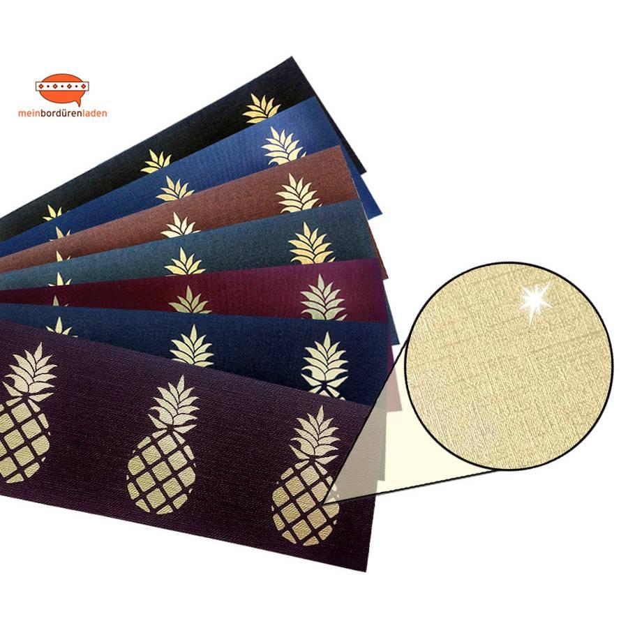 Metallic Bordüre - Gold:: Ananas | Vinyl-Vliesbordüre - edler Metallic-Effekt - 18 cm Höhe Bild 1