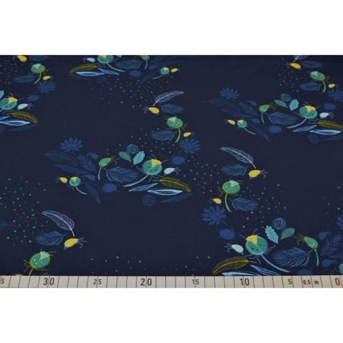 Jersey Blaubeerstern Dark Night, nachtblau dunkelblau blau, Blumen, Damenstoff Stoffe Meterware