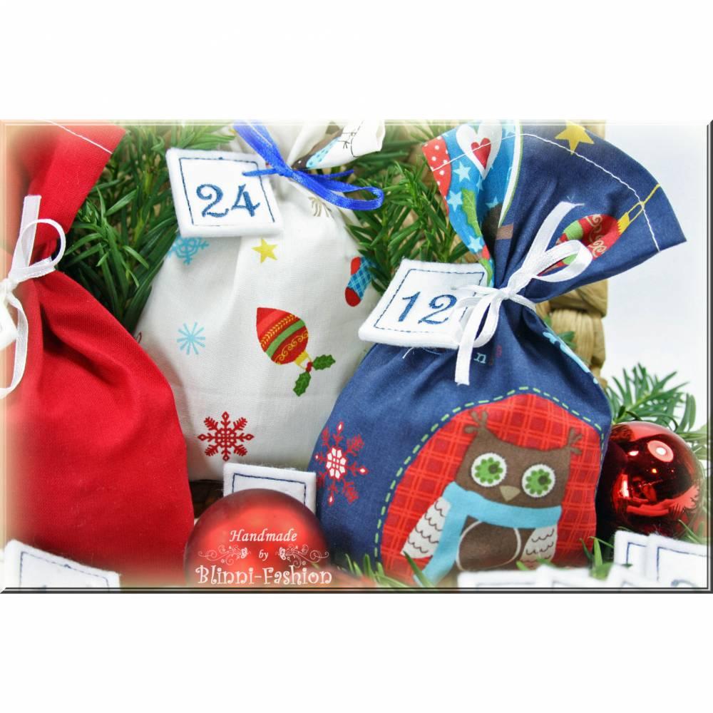 Adventskalender EULE, Stoff Säckchen mit gestickten Zahlen für Kinder und Erwachsene, Weihnachten, Advent, verschiedene Farben Bild 1