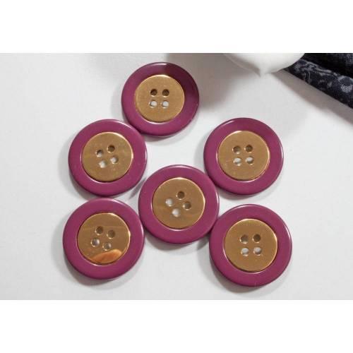 6 Vintage Knöpfe 22mm pink goldfarben,Kunststoffknöpfe, Mantelknöpfe, Trödel Dings da