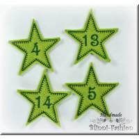Adventskalender Zahlen,  STERNE  Aufnäher gestickt auf Filz, Adventskalenderzahlen Weihnachten, Advent Bild 1
