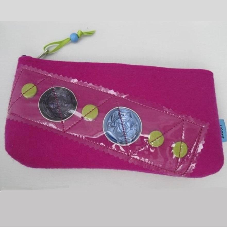 Federmäppchen, Wollfilz, pink (fuchsia) m. Kaffeekapseln u.Leder Bild 1