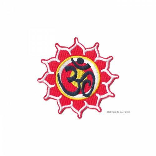 Om Bügel Aufnäher, red lotus, Yoga Aufbügler ~75mm