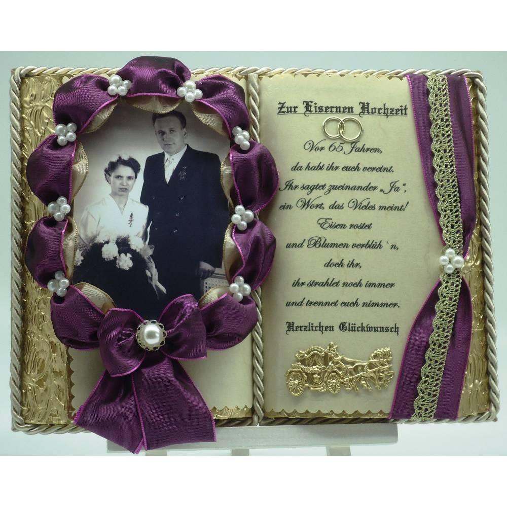 """Handgefertigtes Deko-Buch zur """"Eisernen Hochzeit"""" für Foto mit Holz-Buchständer Bild 1"""