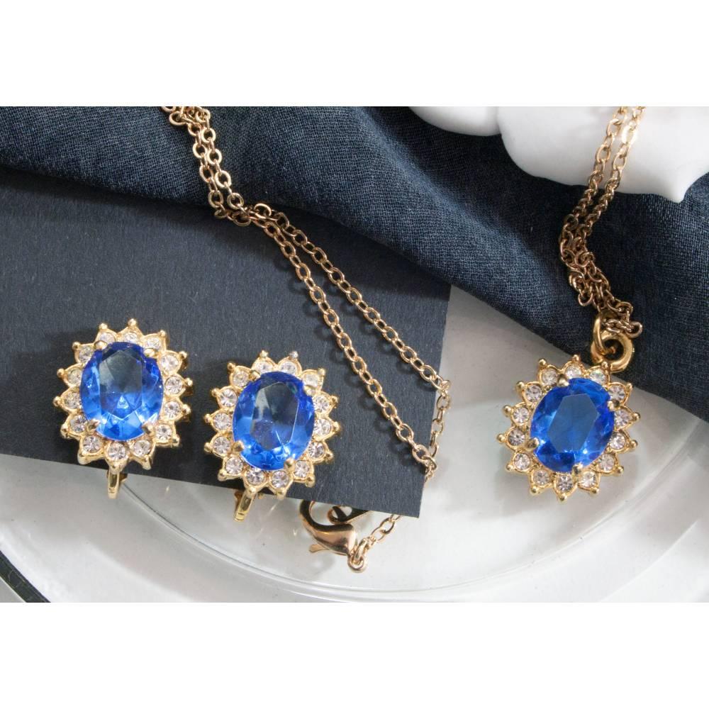 Vintage Schmuckset blau, Halskette, Ohrclips, 60er, 70er Jahre, Trödel Dings da Bild 1