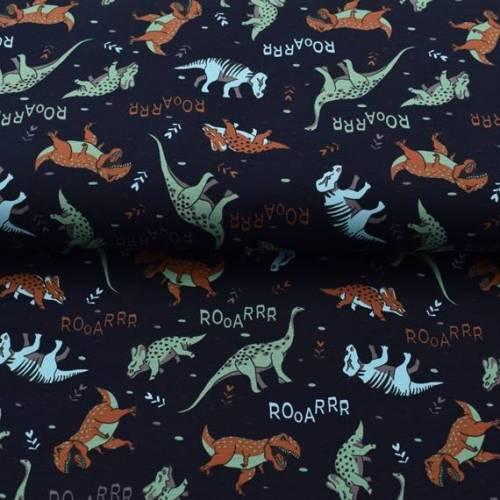 Jersey Dinosaurier Dino, Jersey blau, Rooarrr - bedruckt mit coolen Dinos, Stoffe Meterware Dinojersey Jungen