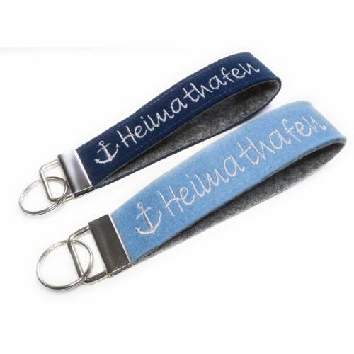 Schlüsselanhänger personalisiert aus Filz mit Text Name maritim Geschenk Geburtstag Schlüsselband
