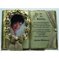 50. Geburtstag - Dekobuch für Foto beige/gold (mit Holz-Buchständer), Schmuckbücher für alle Anlässe Bild 1