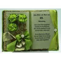65. Geburtstag – Dekobuch mit Holz-Buchständer, Schmuckbücher für alle Anlässe Bild 1