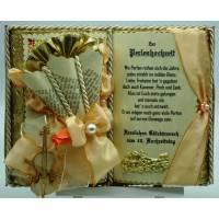 Perlenhochzeit, 30-jähriges Ehejubiläum - Dekobuch (beige/lachsfarben) mit Holzbuchständer, Schmuckbücher für alle Anlässe Bild 1