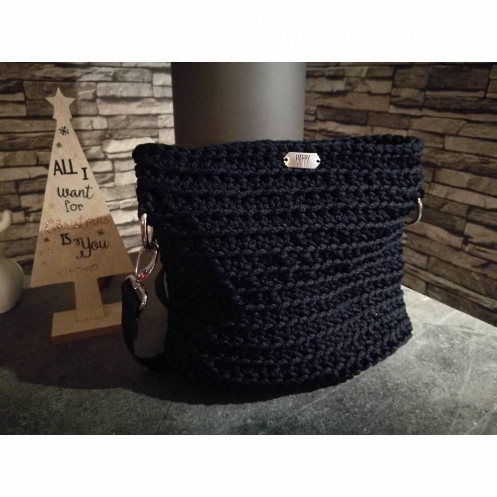 HAPPY Bag- gehäkelt - Schwarz/Nachtblau Bild 1