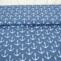 Sommersweat Anker jeansblau, blau weiß,  French Terry maritim Stoff Sweat gemustert, mit Muster bedruckt, Meterware Bild 1