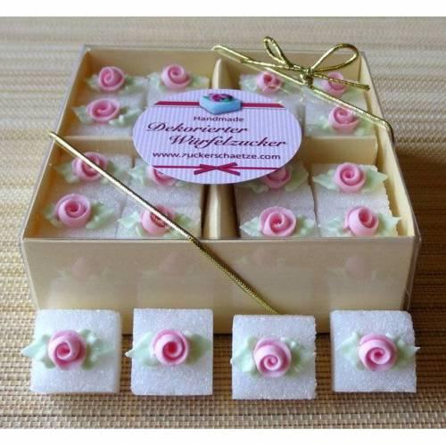 Zuckerwürfel dekoriert mit Rosenblüte rosa Hochzeit Taufe Geburtstag 16 Stück in Geschenkverpackung